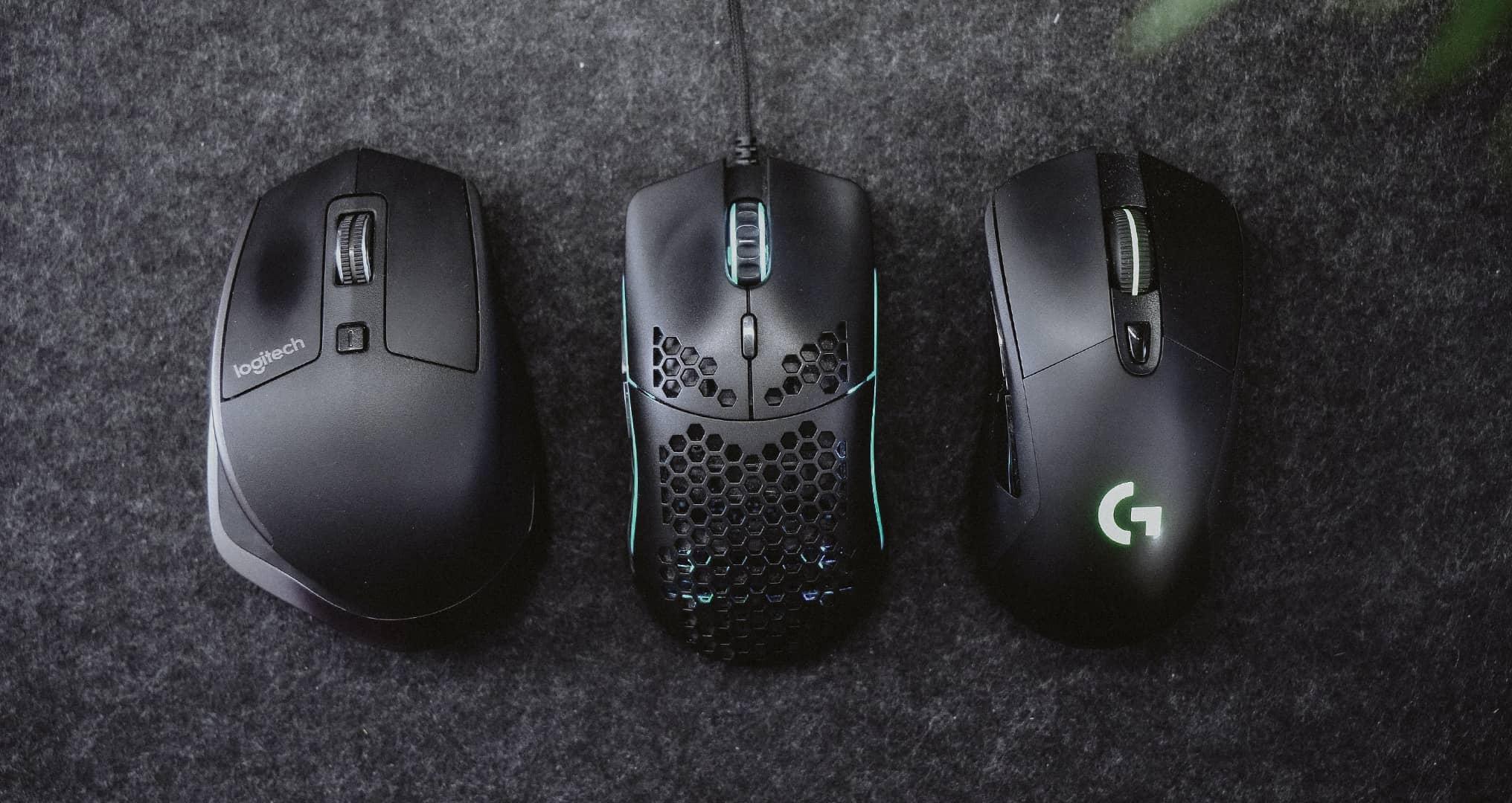 three different computer mice
