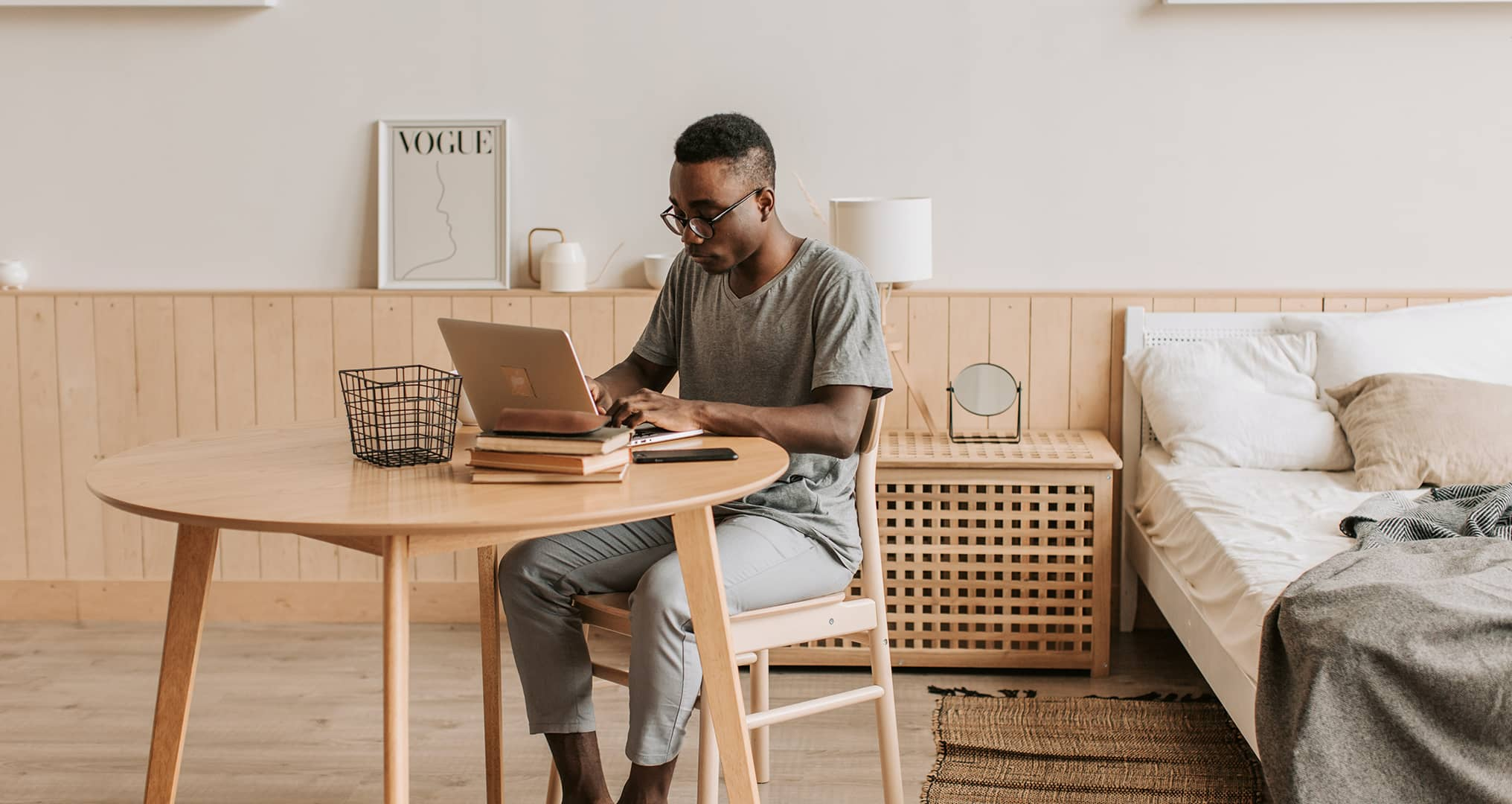man working from home owning a commercial business