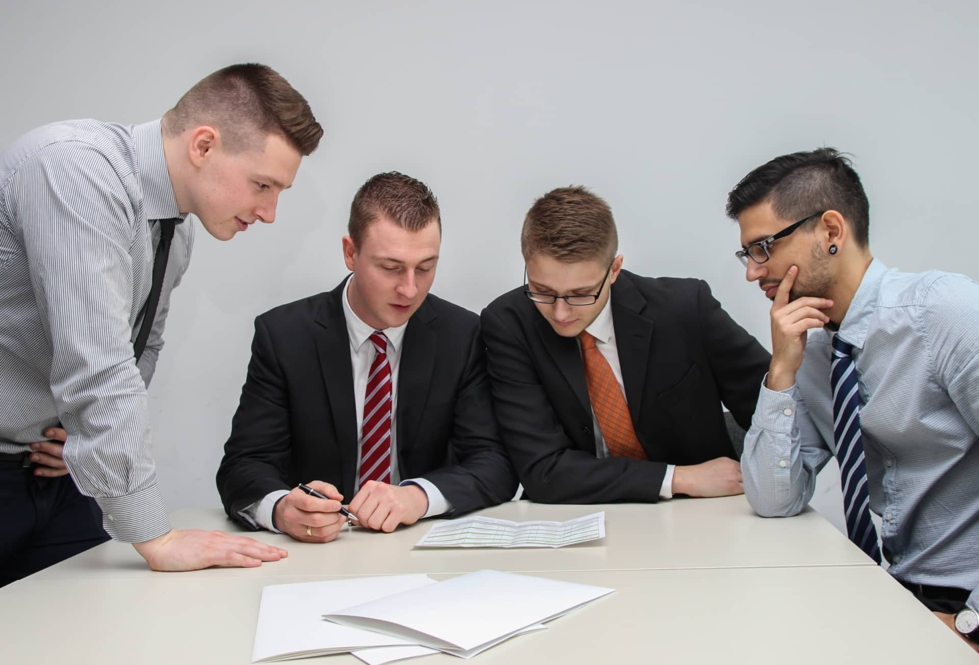 Group of employees in a staff meeting