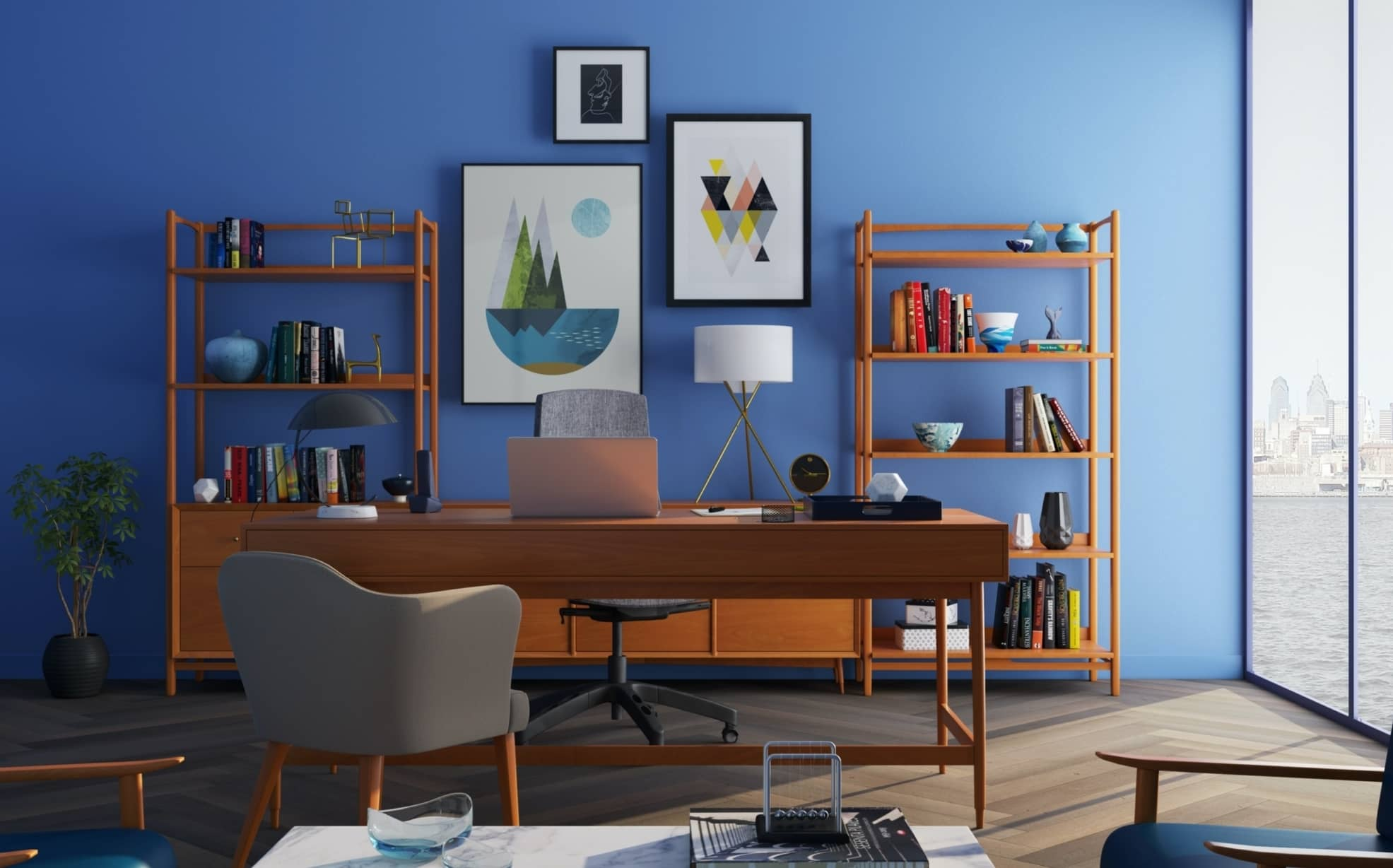 home office with blue wall