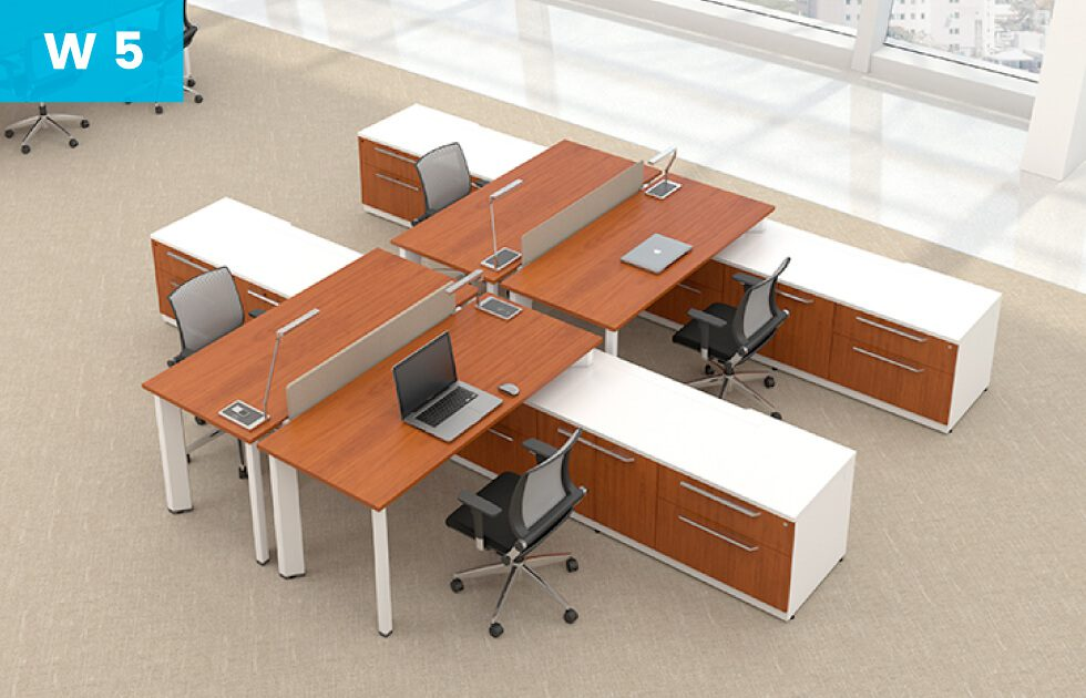 office setting with 4 desks