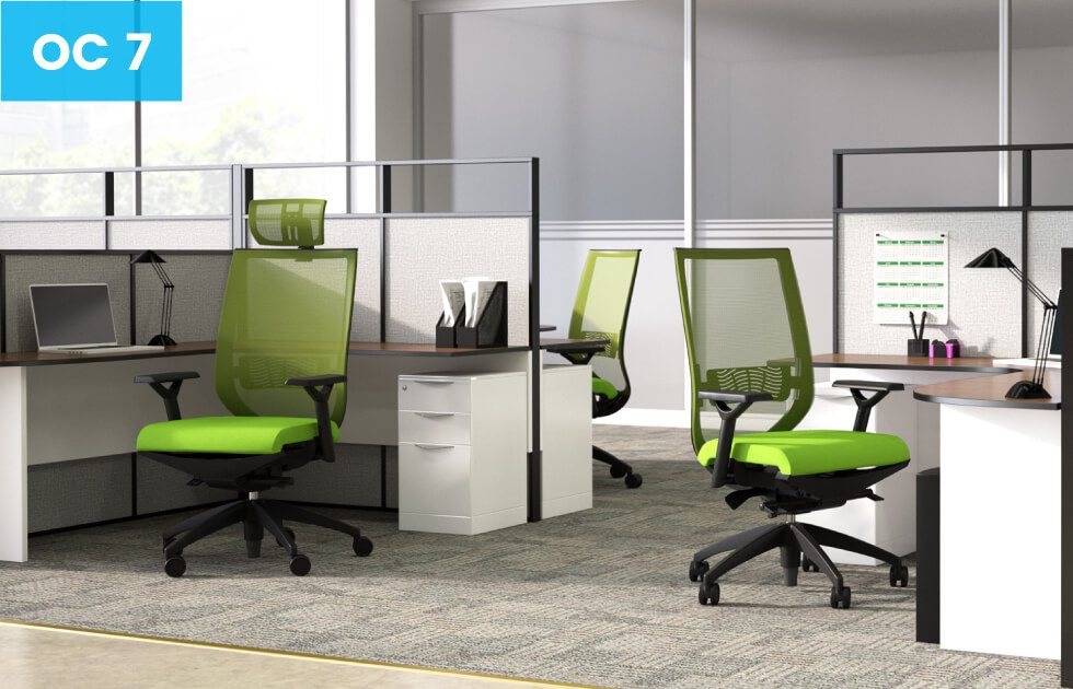 green office chairs with white office desks