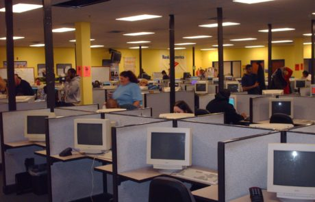 Open office concept with cubicle desks for employees