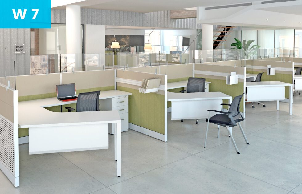 Open office concept with several employee desks