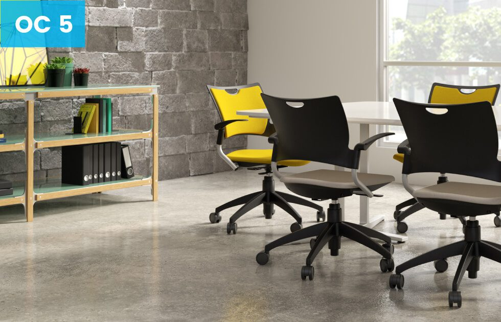 conference room with yellow office chairs
