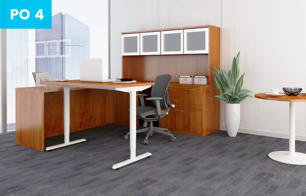 private office setting with walnut desk and office chair