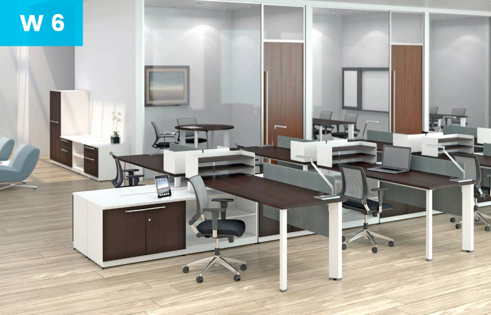 modern workstations for multiple employees