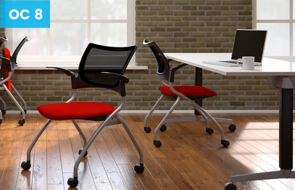red seated office chairs