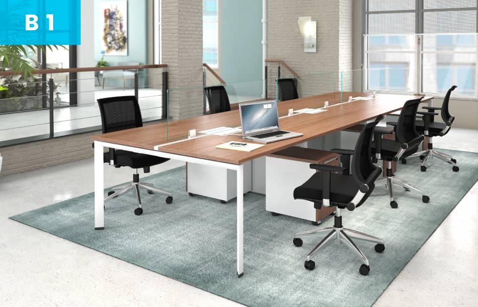 bench style workstation at office business