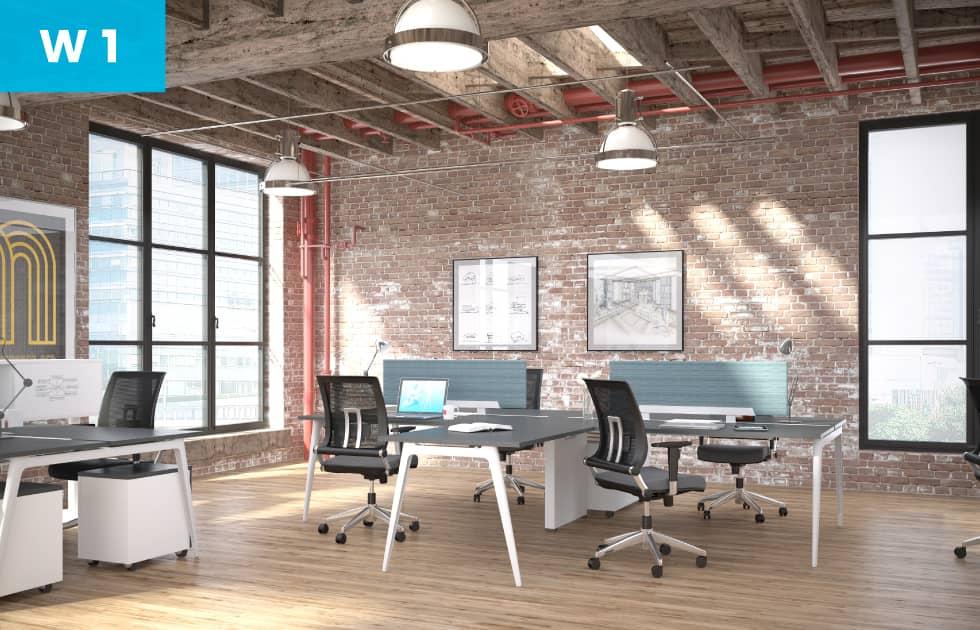 beautiful blue office workstation for modern open office