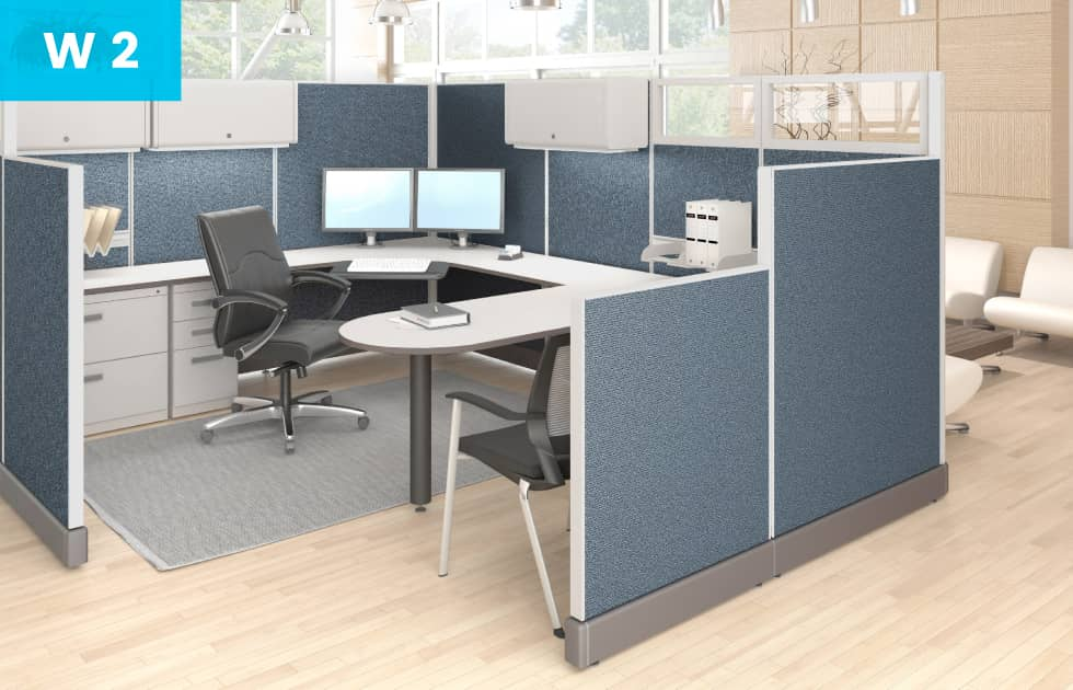 blue cubicle with u shaped desk