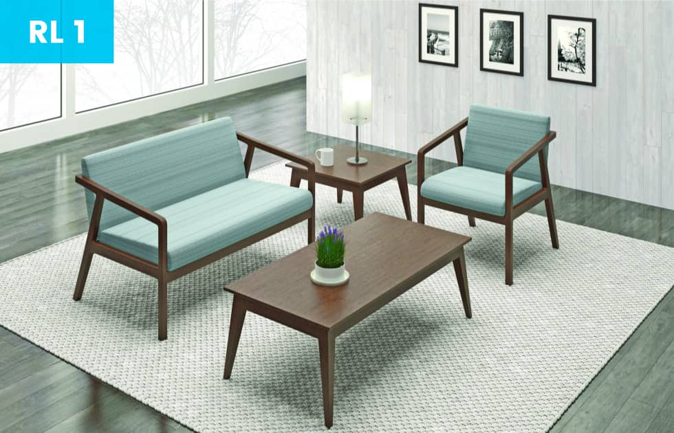 office waiting area with inviting blue seat cushions