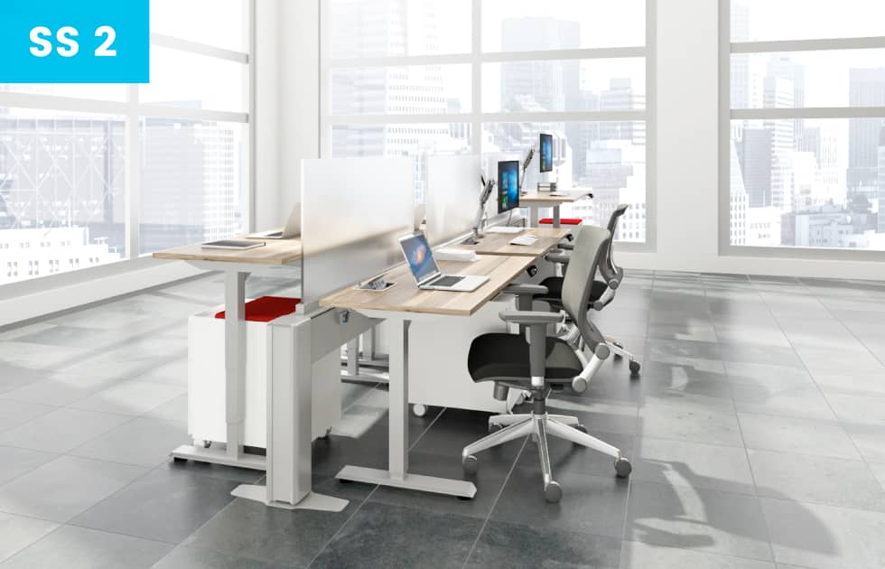 sit to stand office desks and privacy walls