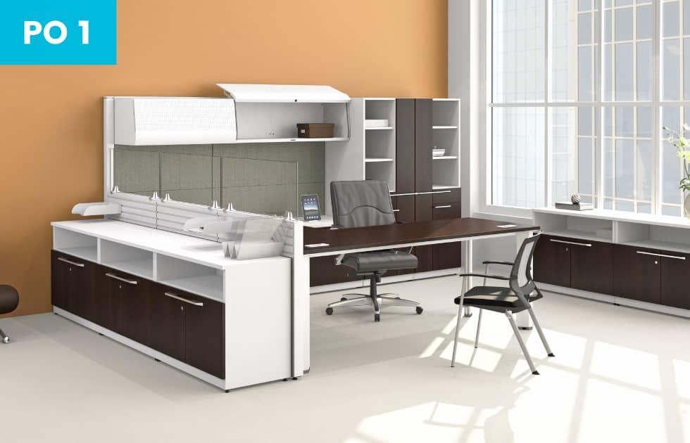 office suite with dark walnut accent