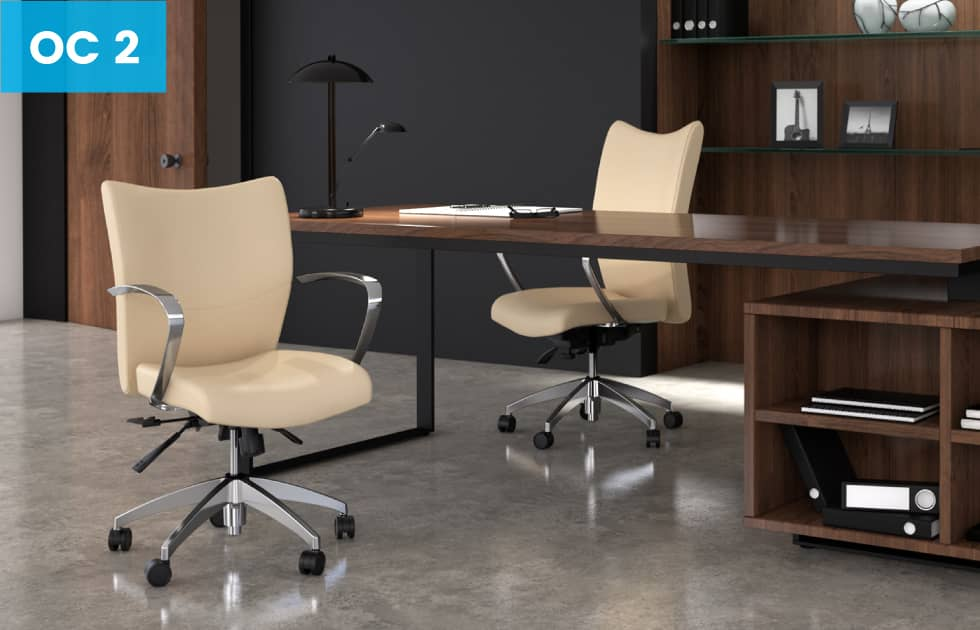 cream colored leather office chairs