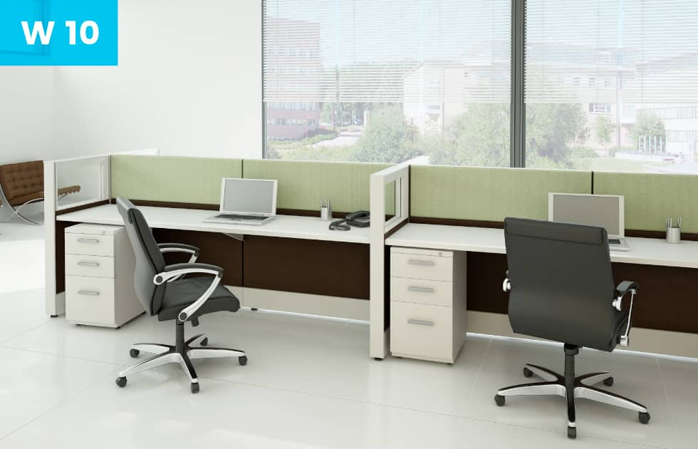 clean modern office workstations