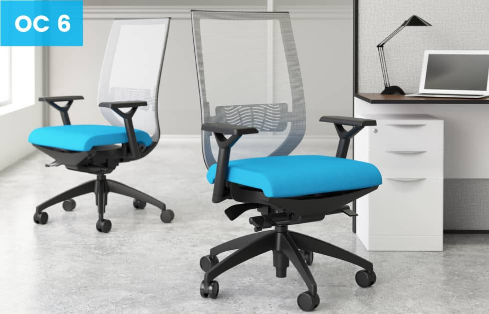 high back office chairs with blue seat cushions