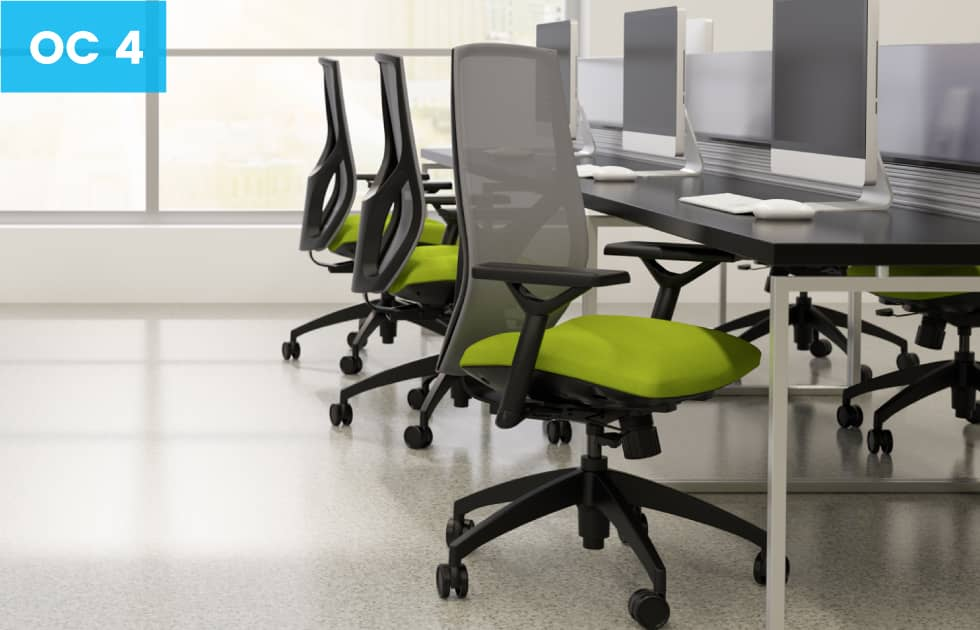 high back office chairs with green seat cushions
