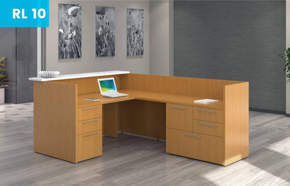 modern reception desk with office storage