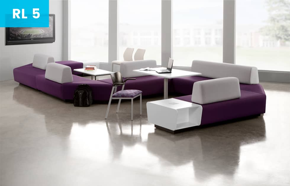 purple couch in office lobby area
