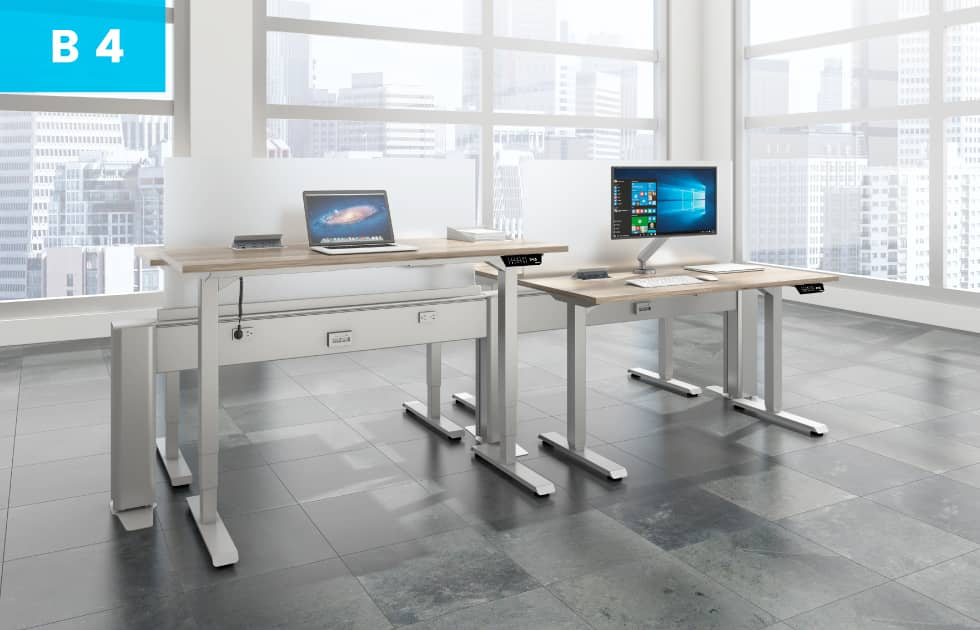 bench style office desks that are sit to stand workstations